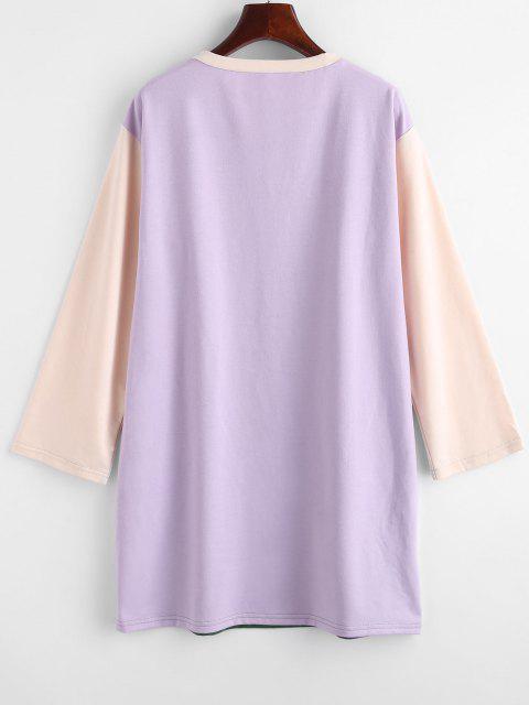 trendy Colorblock CALIFORNIA Graphic Sweatshirt Dress - DEEP GREEN M Mobile