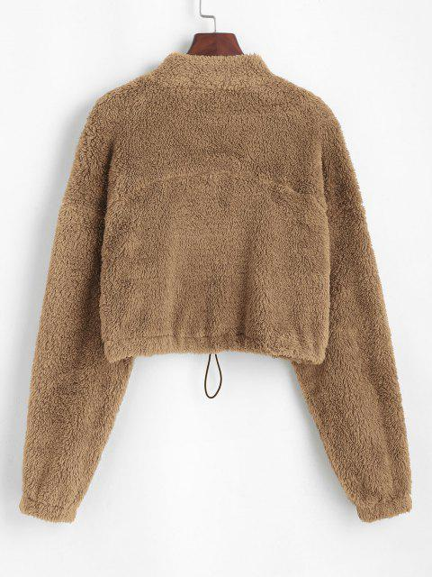 chic ZAFUL Half Zip Plush Cropped Sweatshirt - KHAKI S Mobile