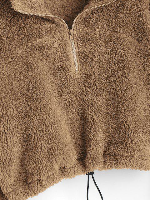 ladies ZAFUL Half Zip Plush Cropped Sweatshirt - KHAKI L Mobile