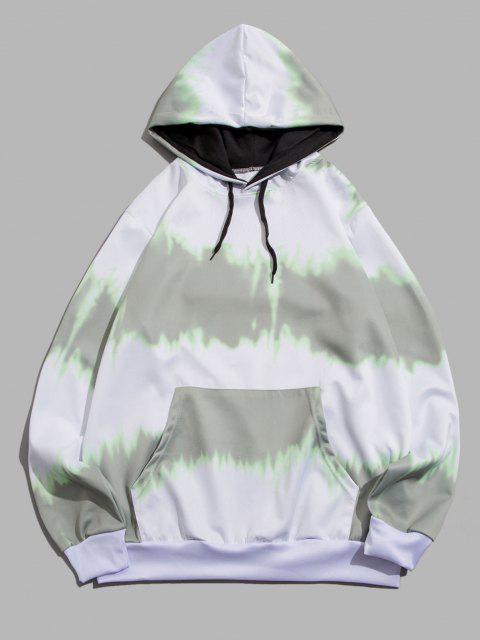 online Tie Dye Print Drawstring Front Pocket Hoodie - GRAY S Mobile