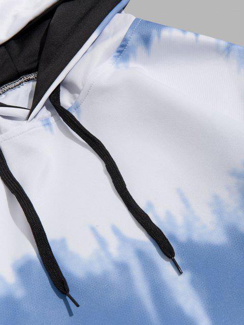 shop Tie Dye Print Drawstring Front Pocket Hoodie - BLUE IVY M Mobile