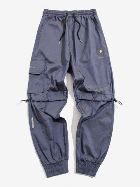 new Daisy Floral Letter Pattern Beam Feet Reflective Pants - SLATE BLUE L Mobile