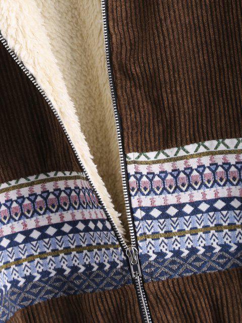 women ZAFUL Faux Fur Lined Tribal Print Corduroy Jacket - DEEP COFFEE M Mobile