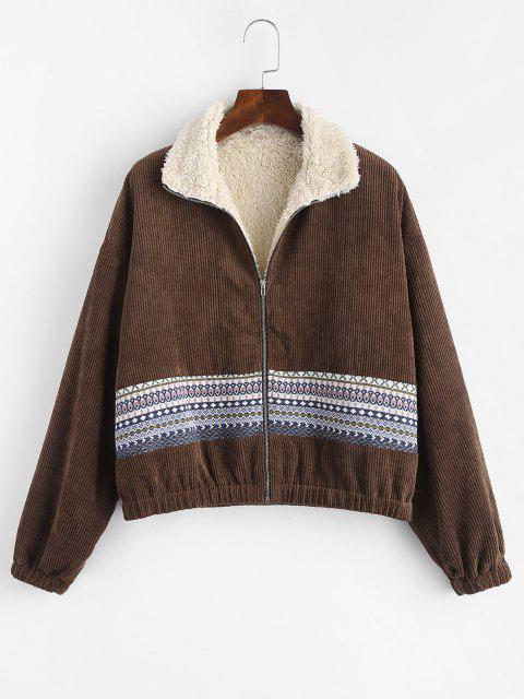 ZAFUL Faux Fur Lined Tribal Print Corduroy Jacket - القهوة العميقة M Mobile
