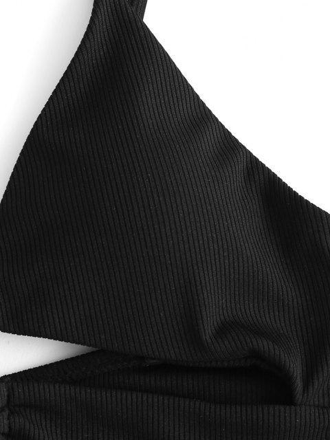 women ZAFUL Animal Print Ribbed Self-tie Bikini Swimwear - TAN M Mobile
