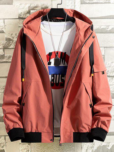 latest Colorblock Letter Patchwork Hooded Jacket - FIREBRICK XS Mobile