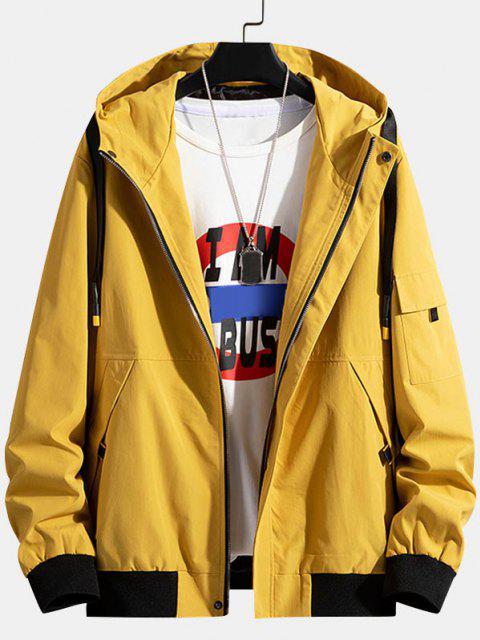 Colorblock Letter Patchwork Hooded Jacket - الأصفر XS Mobile