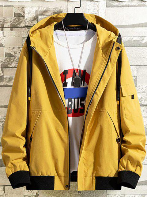 women Colorblock Letter Patchwork Hooded Jacket - YELLOW M Mobile
