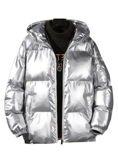 affordable Hooded Shiny Metallic Puffer Quilted Jacket - SILVER M Mobile