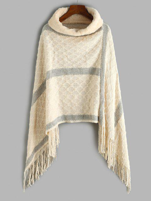fancy Faux Fur Turtleneck Oversized Fringed Poncho Sweater - LIGHT COFFEE ONE SIZE Mobile