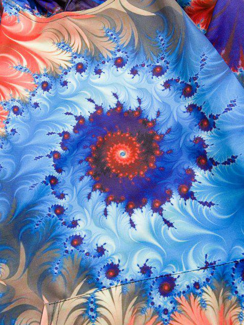 women's Swirl Pattern Front Pocket Hoodie - DENIM DARK BLUE 2XL Mobile