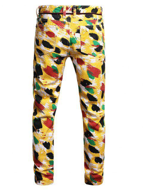 ladies Colorful Paint Print Long Jeans - MULTI-A 38 Mobile