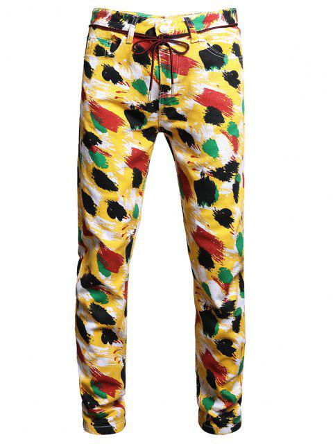 fashion Colorful Paint Print Long Jeans - MULTI-A 32 Mobile