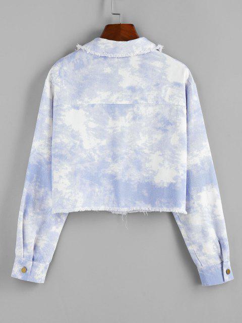 affordable ZAFUL Cloud Dye Frayed Shirt Jacket - LIGHT BLUE S Mobile