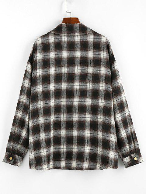 ZAFUL Corduroy Patched Plaid Pocket Drop Shoulder Shacket - دب بنى XL Mobile