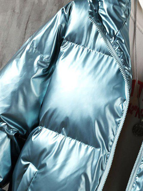 latest Hooded Shiny Metallic Puffer Quilted Jacket - GREENISH BLUE L Mobile