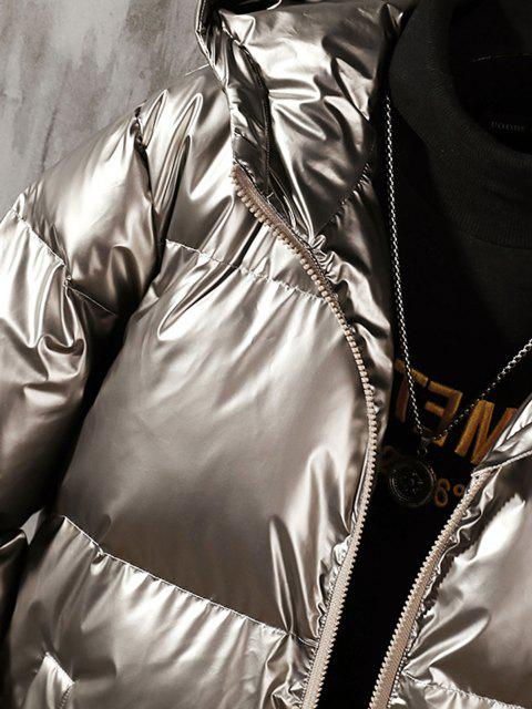 fashion Hooded Shiny Metallic Puffer Quilted Jacket - PLATINUM 4XL Mobile