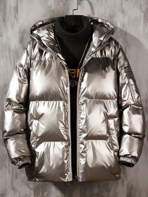 Glänzendes Metallische Puffer Jacke mit Kapuze - Platin XL Mobile