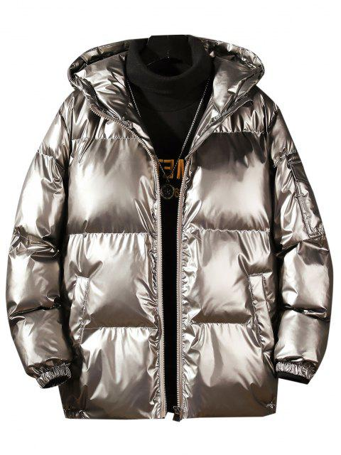 online Hooded Shiny Metallic Puffer Quilted Jacket - PLATINUM XL Mobile