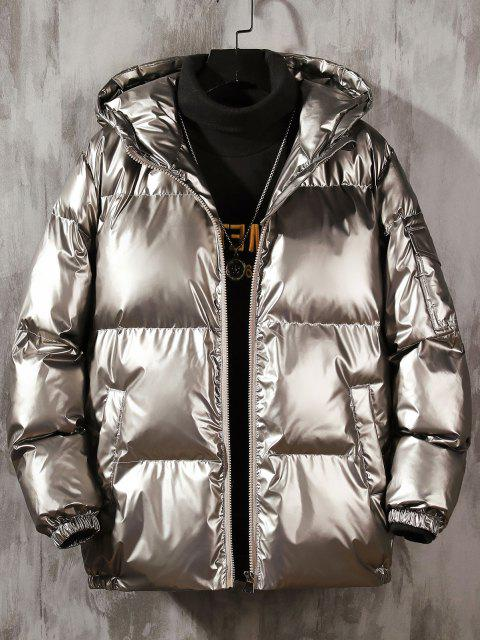 lady Hooded Shiny Metallic Puffer Quilted Jacket - PLATINUM L Mobile