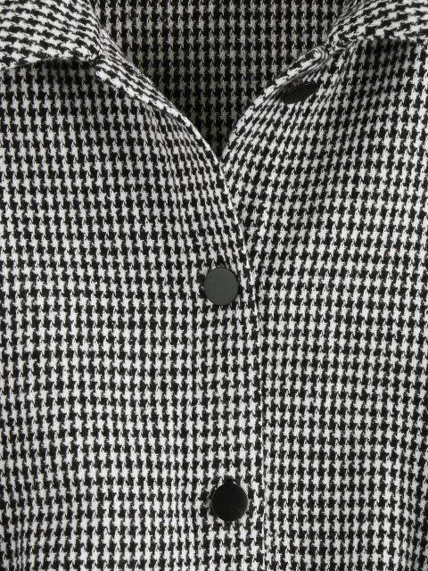 shop ZAFUL Houndstooth Drop Shoulder Tweed Jacket - BLACK S Mobile
