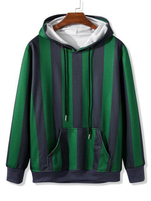 women Front Pocket Fleece Lined Striped Hoodie - SHAMROCK GREEN 2XL Mobile