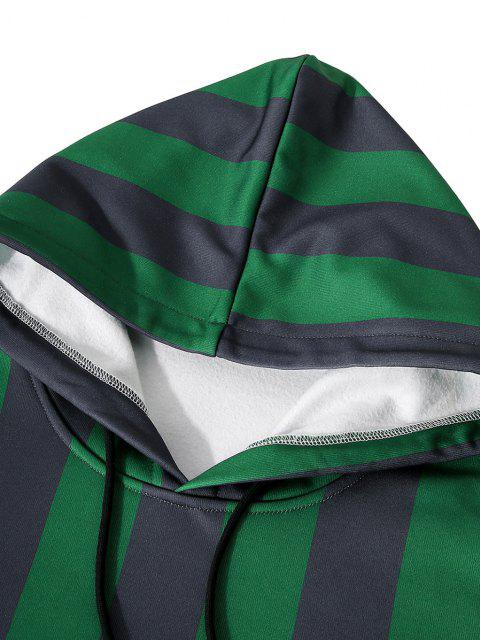outfit Front Pocket Fleece Lined Striped Hoodie - SHAMROCK GREEN L Mobile