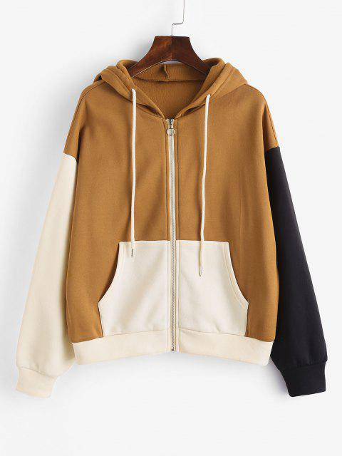 women ZAFUL Drawstring Colorblock Zip Up Hoodie - LIGHT COFFEE M Mobile