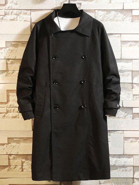 trendy Raglan Sleeve Double Breasted Trench Coat - BLACK 3XL Mobile