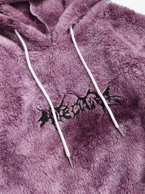 Sudadera con Capucha con Bordado de Letras y de Tie-dye - Púrpura L Mobile
