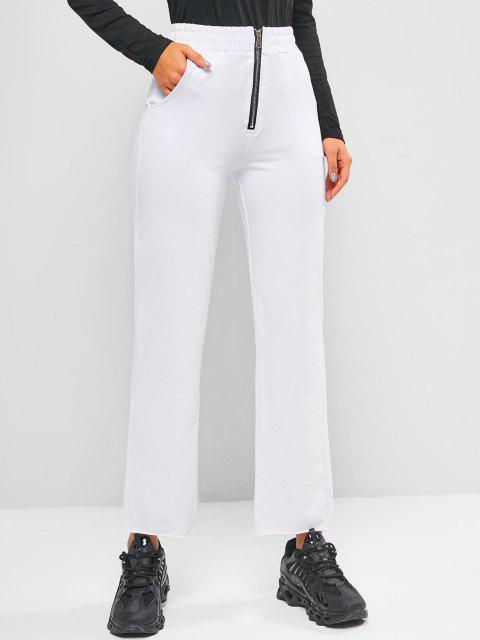 outfit Zip Front Pocket Raw Hem Straight Pants - WHITE S Mobile