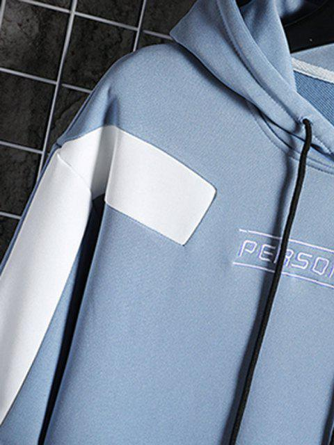fashion Drawstring Front Pocket Letter Embroidered Hoodie - LIGHT BLUE L Mobile