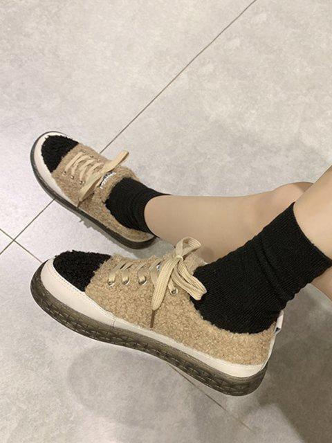 unique Colorblock Teddy Faux Fur Lace Up Shoes - KHAKI EU 37 Mobile