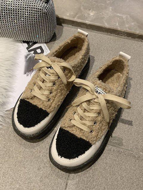 affordable Colorblock Teddy Faux Fur Lace Up Shoes - KHAKI EU 40 Mobile