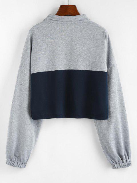 ZAFUL Two Tone Half Zipper Cropped Sweatshirt - رمادي فاتح S Mobile
