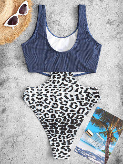 lady ZAFUL Ribbed Leopard Cutout One-piece Swimsuit - LAPIS BLUE S Mobile