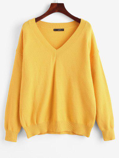 Oversized V Neck Sweater - Rubber Ducky Yellow