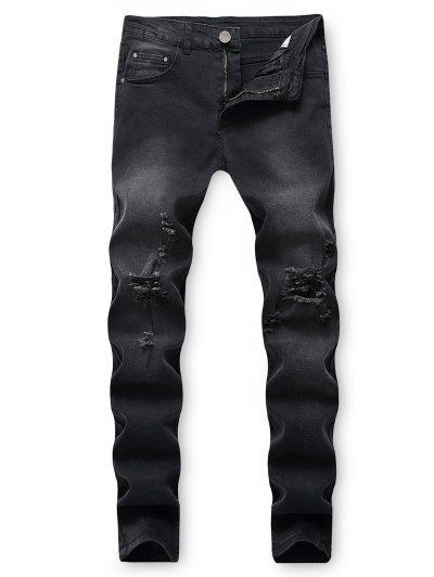 Destroy Wash Ripped Back Pocket Long Jeans - Black 36