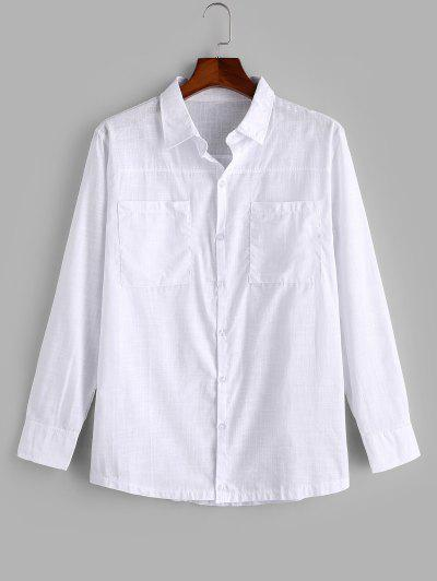 Double Pockets Button Up Shirt - White M