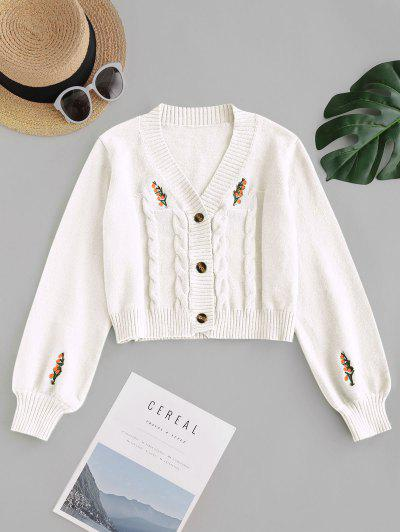Button Up Embroidered Cable Knit Cardigan - Crystal Cream