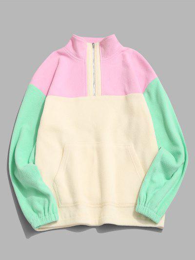 Colorblock Quarter Zip Kangaroo Pocket Fluffy Sweatshirt - Multi L