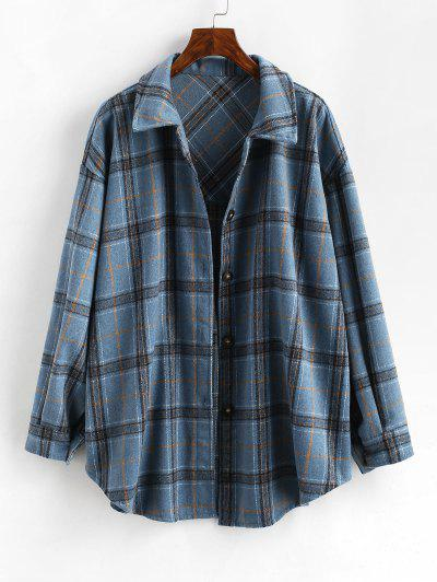 Checked Wool Blend Coat - Blue M
