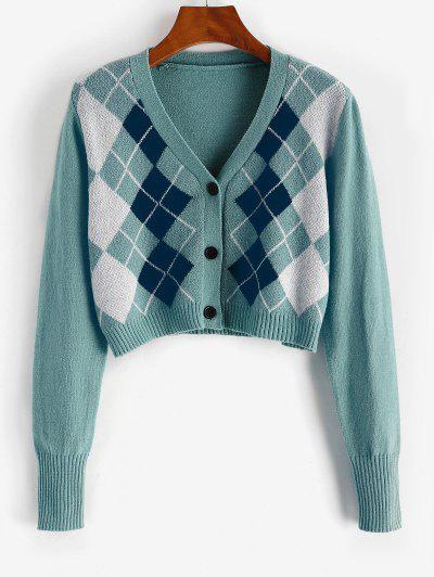 Argyle Button Up V Neck Crop Cardigan - Greenish Blue