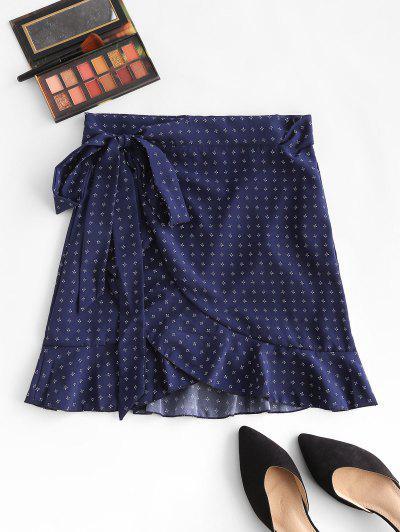 Saia Ditsy Impressão Floral - Azul Escuro L