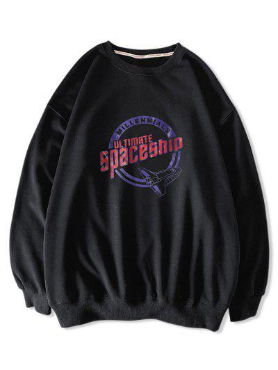 Crew Neck Ultimate Spaceship Graphic Sweatshirt - Black Xl
