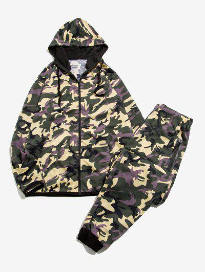 Camouflage Print Jacket And Pants Two Piece Set - Army Green M