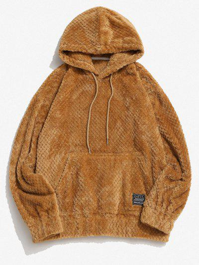 Zaful Label Kangaroo Pocket Fluffy Hoodie - Coffee Xl