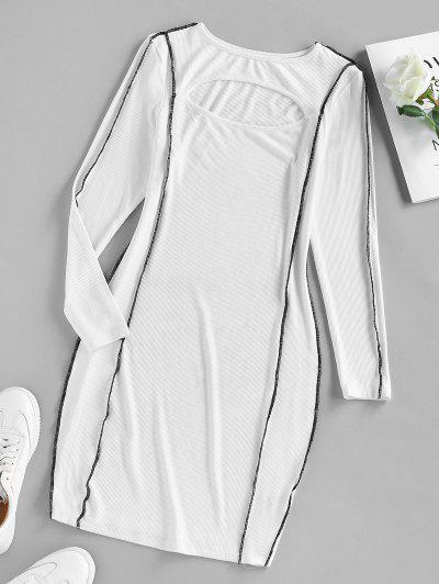 ZAFUL Ribbed Topstitching Cutout Bodycon Dress - White M