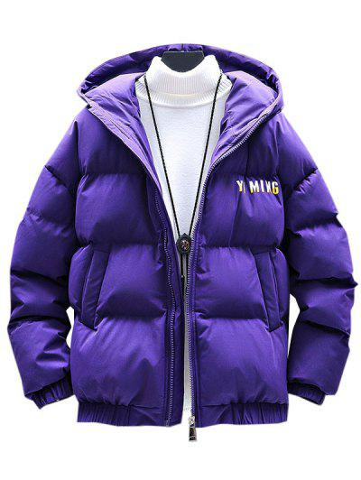 Zip Up Letter Graphic Pockets Padded Coat - Purple 3xl