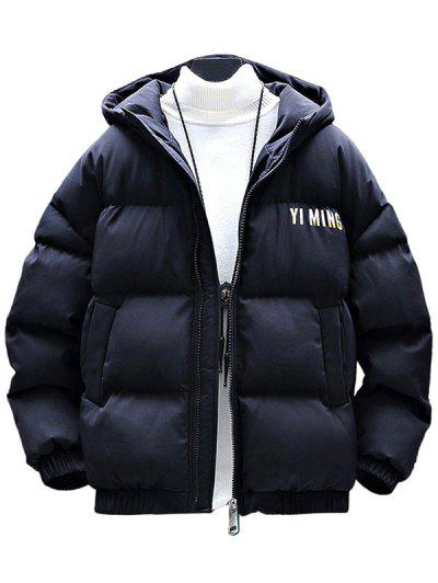 Zip Up Letter Graphic Pockets Padded Coat - Black 2xl